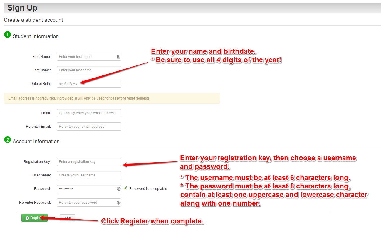 sign up for a registration key